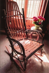 Picture of an rustic-looking wooden Amish Rocker