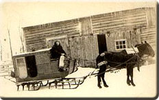 Picture of Batchellerville Stage in winter as horse-drawn cart on skis